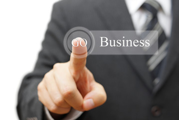 Businessman pressing  business  on virtual button, Business conc