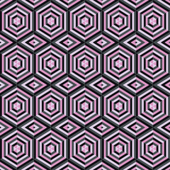 Mosaic different colors, geometric shapes of hexagons.