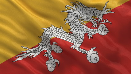 Flag of Bhutan waving in the wind - seamless loop