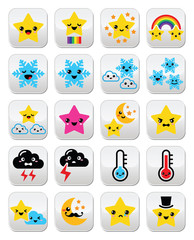 Cute weather kawaii buttons, star, rainbow, moon, snowflake