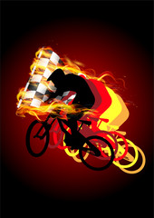 bicycle racing with fire flag for winner