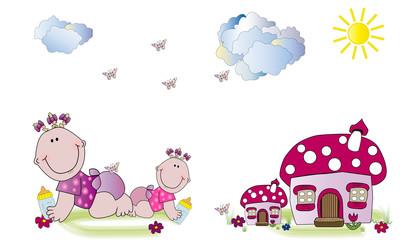 Bebés y casitas rosas 1