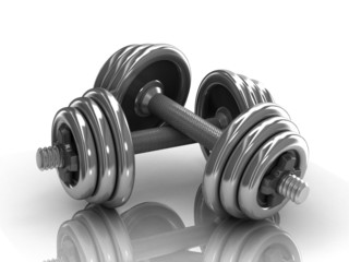 dumbbells over white background