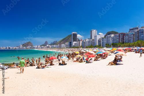 City on the water Copacabana beach in Rio de Janeiro, Brazil