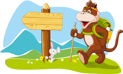 Funny monkey tourist hiking mountains, cartoon illustration