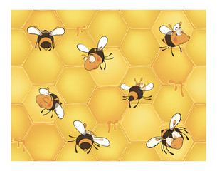 Bees and bee's honeycomb. Seamless pattern.