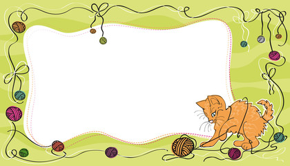 Card with cute red cat plying with yarn balls, green background
