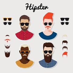 Set of hipster with hairstyle, beards, mustaches, glasses.