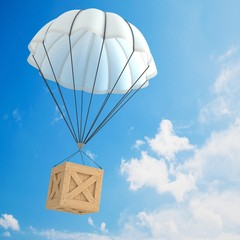 Parachute package flying through the sky