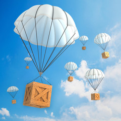 Parachute packages flying through the sky