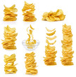 Collection potato chips isolated on white background