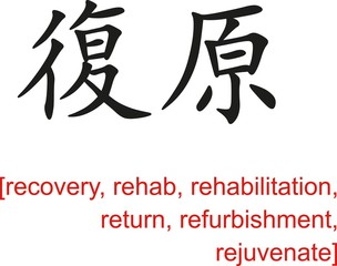 Chinese Sign for recovery, rehab, rehabilitation, return