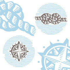 Vintage marine vector icon set: engraving knot and wind rose.