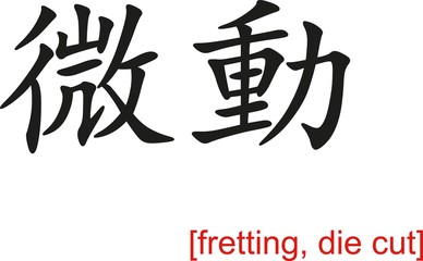 Chinese Sign for fretting, die cut