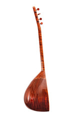 Saz baglama Turkish Music Instrument on White Background