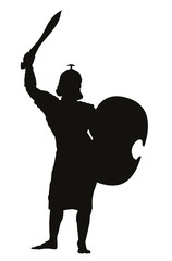 Persian warrior with sword and shield detailed vector silhouette