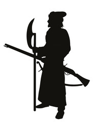 Antient soldier with axe and musket. Detailed vector silhouette