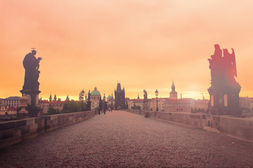 Misty morning on the Charles Bridge