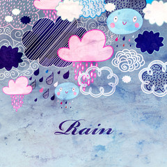 watercolor background with clouds and rain