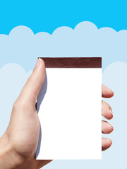 notebook in woman hand and vector clouds