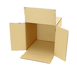 opened cardboard box isolated on a white background.