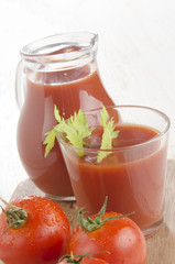 cold tomato juice in a glass