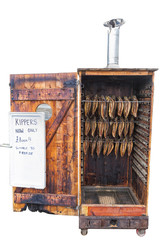 Kippers in a mobile Smokehouse Isolated