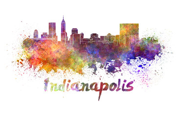 Indianapolis skyline in watercolor