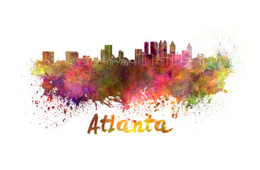 Atlanta skyline in watercolor