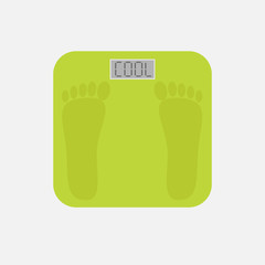 electronic weight scale with word cool. Flat design