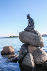 Monument of the Little Mermaid in Copenhagen, Denmark,