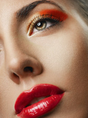 Close-up portrait of sexy model with glamour red lips make-up