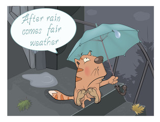 A cat and a rain comics