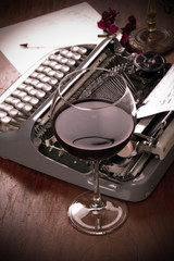 Wineglass and Typewriter