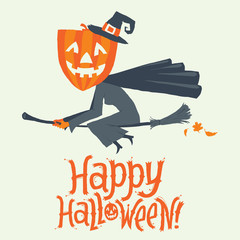 A Witch flying on a broomstick. Happy Halloween postcard, poster