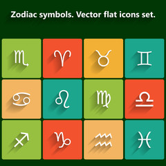 Signs of the zodiac. Vector flat icons
