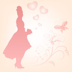 Vector illustration of a young elegant bride holding flowers.