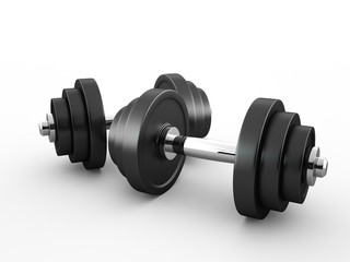 Two dumbbells isolated on a white background