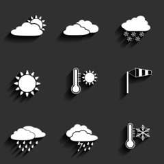 Vector flat design style weather icons set