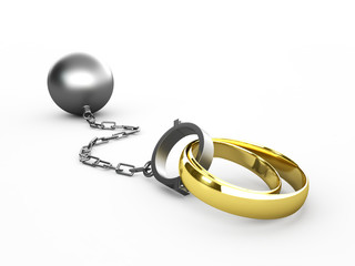 Wedding rings chained in shackles