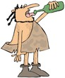 Caveman drinking wine
