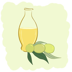 Small bottle of olive oil and two olives
