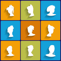 Vector Flat Icons Set of Female Silhouettes
