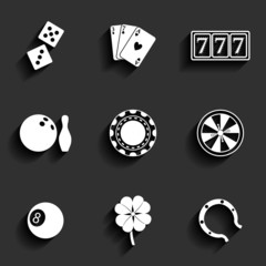 Casino and Gambling Flat Icons