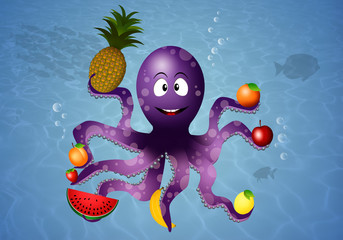 Funny octopus with vegan fruits