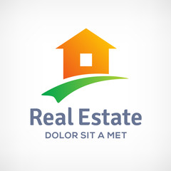 Real estate logo design template with house and arrow.