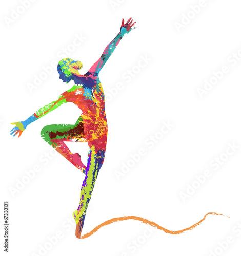 Naklejka silhouette di ballerina composta da colori