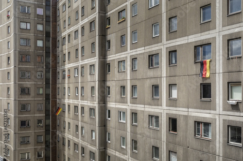 canvas print picture Block of flats wit German flag