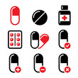Pills, medication red and black vector icons set