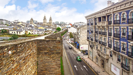 View from the Roman wall of Lugo.